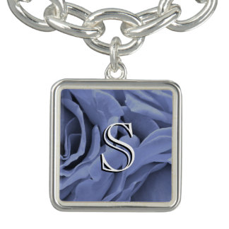 Delicate light blue gray roses flower photo charm bracelets