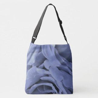 Delicate light blue gray roses flower photo crossbody bag