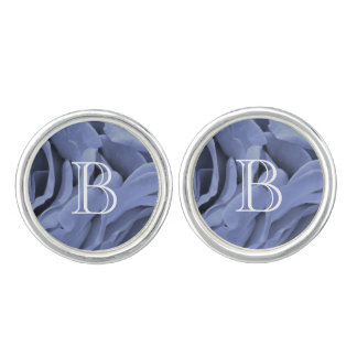 Delicate light blue gray roses flower photo cufflinks