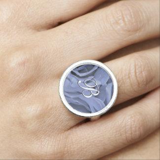 Delicate light blue gray roses flower photo ring