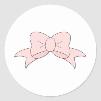 Delicate Little Pink Bow Classic Round Sticker