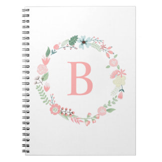 Delicate Monogrammed Floral Wreath Spiral Notebook