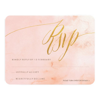 "Delicate Paint Blush and Gold RSVP 4.25"" X 5.5"" Invitation Card"