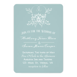Delicate Pale Blue with Handrawn  White Lotus Card
