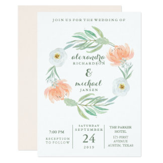 Delicate Peach Floral and Eucalyptus | Wedding Card