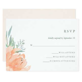 Delicate Peach Floral and Eucalyptus Wedding RSVP Card
