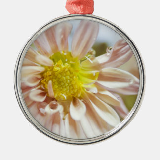 Delicate Peach Flower and Water Drop Silver-Colored Round Ornament