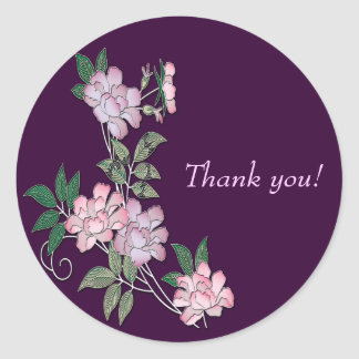 Delicate peonies elegant floral pattern Thank you Round Sticker