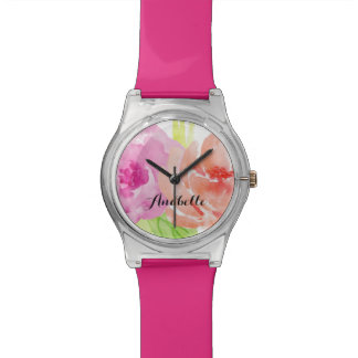 Delicate Pink and Orange Floral Watercolor Watch
