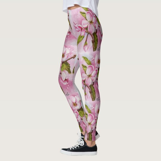 DELICATE PINK APPLE BLOSSOMS | FLORAL LEGGINGS