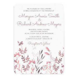 Delicate Pink Floral Branches - Wedding Invitation