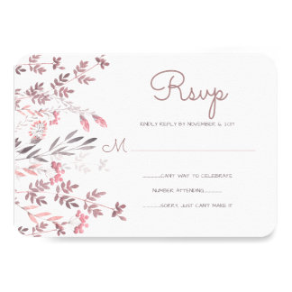 Delicate Pink Floral Branches - Wedding RSVP Card