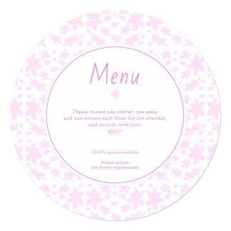 Delicate Pink Flowers Wedding Menu Card