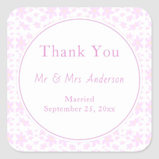 Delicate Pink Flowers Wedding Square Sticker