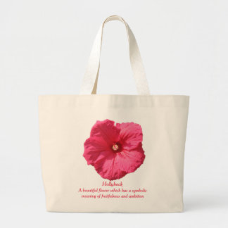 Delicate Pink Hollyhock-Fruitfulness and Ambition Large Tote Bag