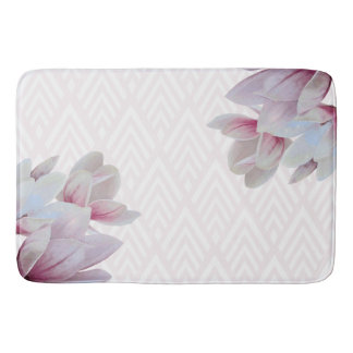 Delicate Pink Magnolias & White Arrows Pattern Bath Mat