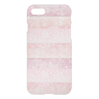 Delicate Pink Peach Bokeh Stipes Transparent iPhone 8/7 Case