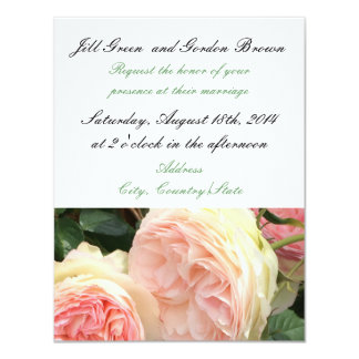 Delicate Pink Rose Wedding Invitation
