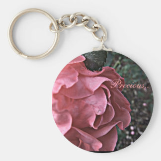 Delicate Pink Roses Over Footpath Photograph Basic Round Button Keychain