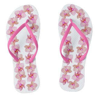 Delicate Pink Striped Orchids Circle Flip Flops