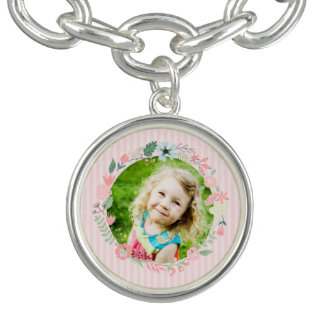 Delicate Pink Stripes Custom Photo Floral Frame Charm Bracelet