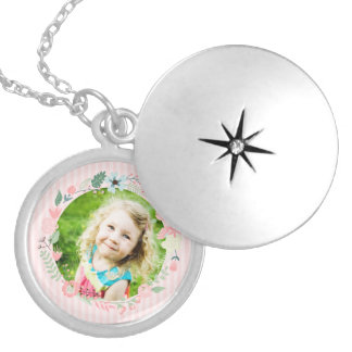 Delicate Pink Stripes Custom Photo Floral Frame Round Locket Necklace