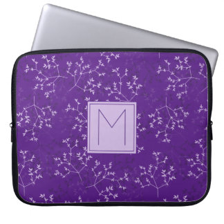 Delicate Purple Branches Monogram Laptop Sleeve