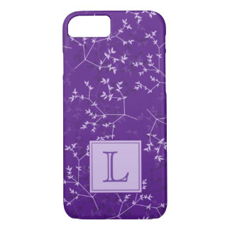 Delicate Purple Branches Monogram Phone Case