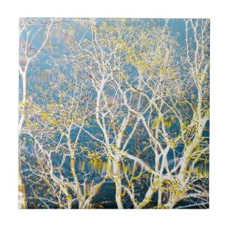 Delicate Reflection - Aqua and Yellow Ceramic Tiles