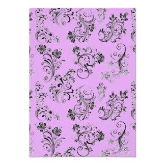 delicate rococo floral pattern invitation cards