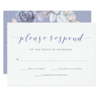 Delicate Rose | Soft Purple and Gray Wedding RSVP Card