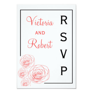 Delicate Roses Response Card, Black & Red Card