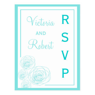 Delicate Roses RSVP Postcard, Turquoise Postcard