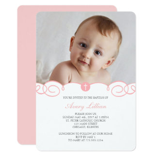 Delicate Scroll Baptism Invitation