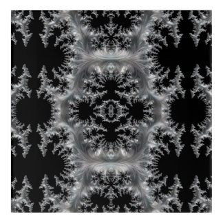 Delicate Silver Filigree on Black Fractal Abstract Acrylic Wall Art