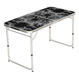 Delicate Silver Filigree on Black Fractal Abstract Beer Pong Table