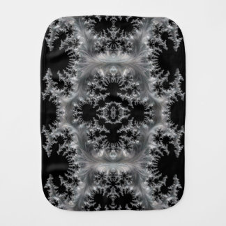 Delicate Silver Filigree on Black Fractal Abstract Burp Cloth