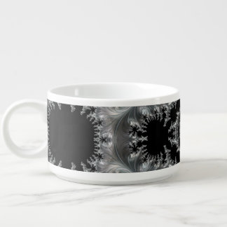 Delicate Silver Filigree on Black Fractal Abstract Chili Bowl