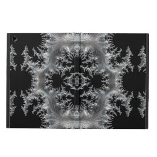 Delicate Silver Filigree on Black Fractal Abstract Cover For iPad Air