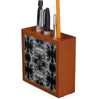 Delicate Silver Filigree on Black Fractal Abstract Desk Organizer