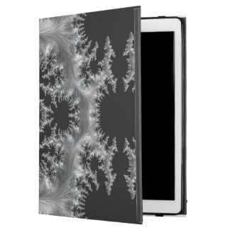 """Delicate Silver Filigree on Black Fractal Abstract iPad Pro 12.9"""" Case"""