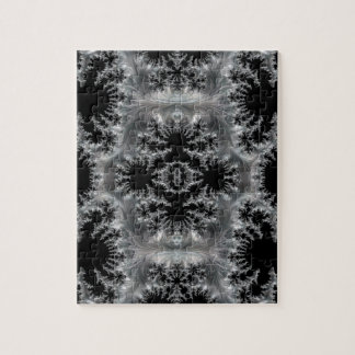 Delicate Silver Filigree on Black Fractal Abstract Jigsaw Puzzle