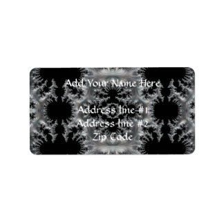 Delicate Silver Filigree on Black Fractal Abstract Label
