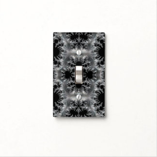 Delicate Silver Filigree on Black Fractal Abstract Light Switch Cover