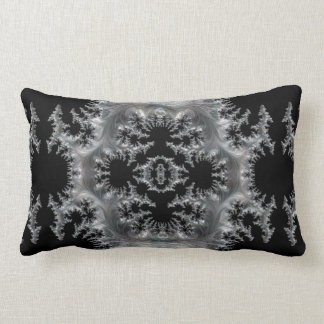 Delicate Silver Filigree on Black Fractal Abstract Lumbar Pillow