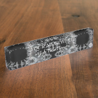 Delicate Silver Filigree on Black Fractal Abstract Name Plate