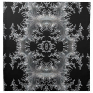 Delicate Silver Filigree on Black Fractal Abstract Napkin