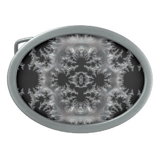 Delicate Silver Filigree on Black Fractal Abstract Oval Belt Buckle