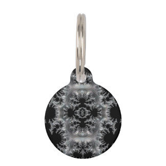 Delicate Silver Filigree on Black Fractal Abstract Pet ID Tag