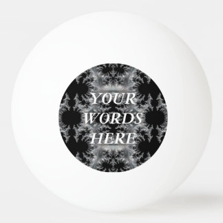 Delicate Silver Filigree on Black Fractal Abstract Ping Pong Ball